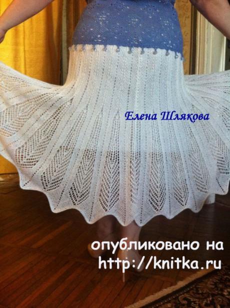 Вязаная спицами юбка. Работа Елены Шляковой вязание и схемы вязания