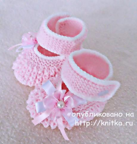 Вязаные спицами пинетки. Работы Елены Зубковой вязание и схемы вязания