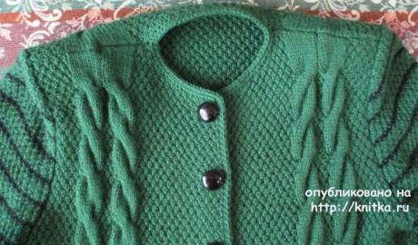 Вязаное спицами пальто. Работа Светланы Якимовой вязание и схемы вязания