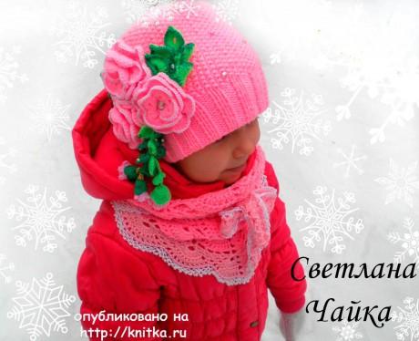 Комплект Розовая нежность: шапочка и бактус для девочки вязание и схемы вязания