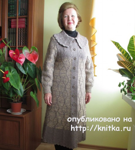 Пальто спицами. Авторская работа Светланы Якимовой. Вязание спицами.