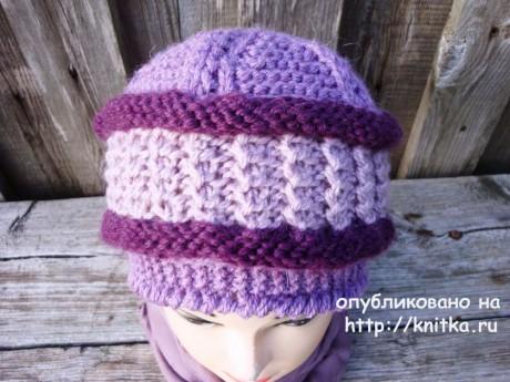 Женская шапка спицами. Работа Анны Черновой вязание и схемы вязания