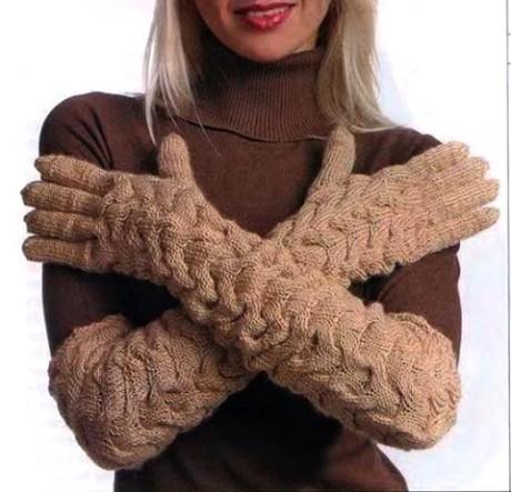 фото длинных перчаток спицами