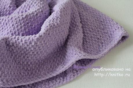 Плюшевый плед спицами. Работа Мухиной Ольги вязание и схемы вязания