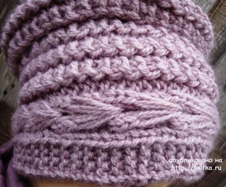 Шапочка Боярыня спицами. Работа Анны Черновой вязание и схемы вязания