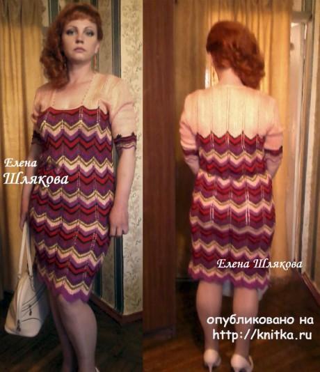 Вязаное женское платье спицами. Работа Елены Шляковой вязание и схемы вязания