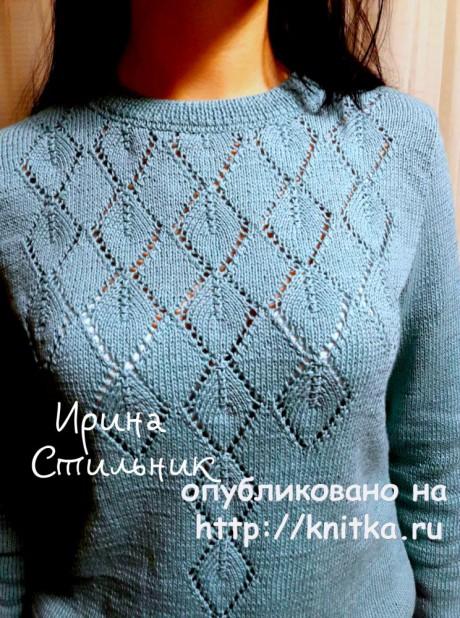 Женский пуловер спицами. Работа Ирины Стильник вязание и схемы вязания