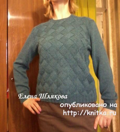 Женский пуловер в технике энтерлак. Работа Елены Шляковой. Вязание спицами.