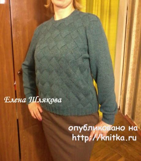 Женский пуловер в технике энтерлак. Работа Елены Шляковой вязание и схемы вязания