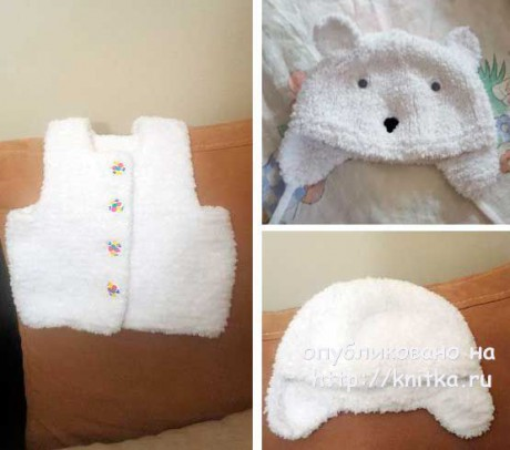 Жилет и шапочка для девочки. Работы Людмилы. Вязание спицами.