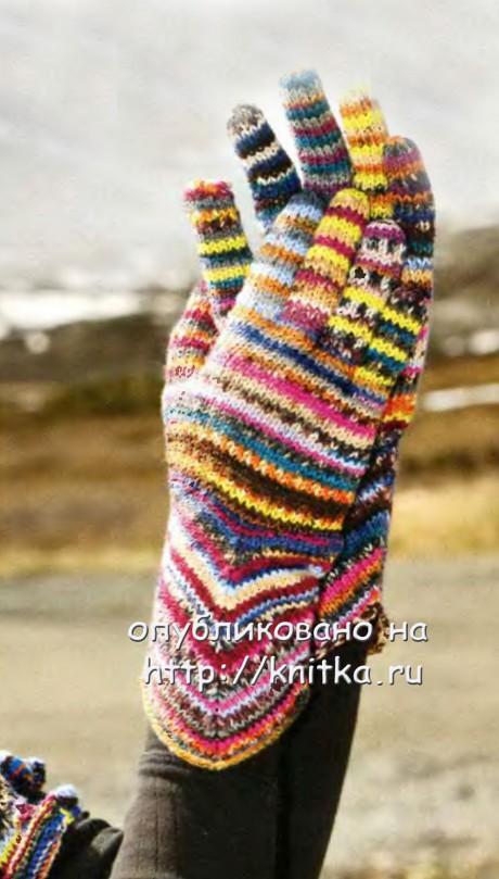 фото перчаток, связанных спицами