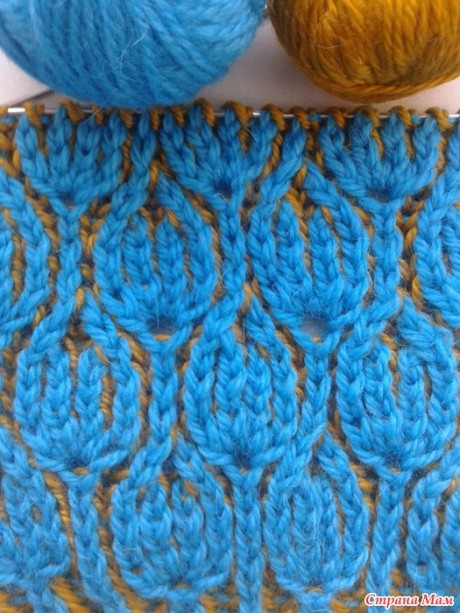 Схема узор Тюльпаны для вязания шарфа в технике бриошь