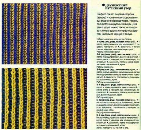 Простая патентная резинка для вязания шарфа бриошь