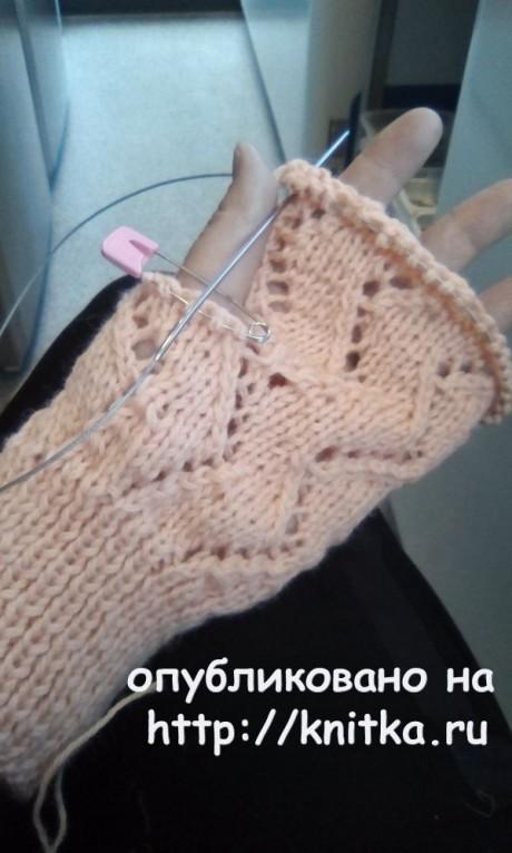 Как связать митенки на двух спицах. Работа Ларисы Глебовны вязание и схемы вязания
