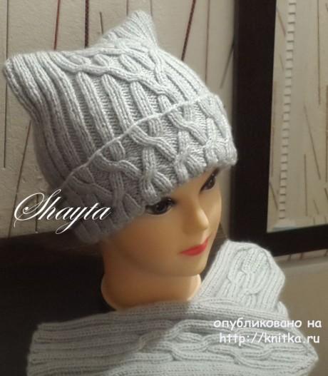 Комплект Una, шапка и варежки. Авторская работа Оксаны Усмановой. Вязание спицами.