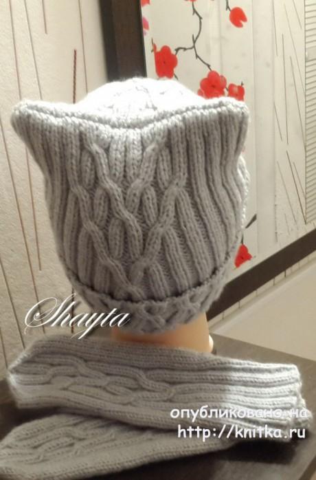 Комплект Una, шапка и варежки. Авторская работа Оксаны Усмановой вязание и схемы вязания