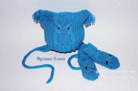 Шапочка и варежки с совой. Работа Мухиной Ольги. Вязание спицами.