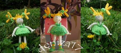Кукла спицами Январский одуванчик