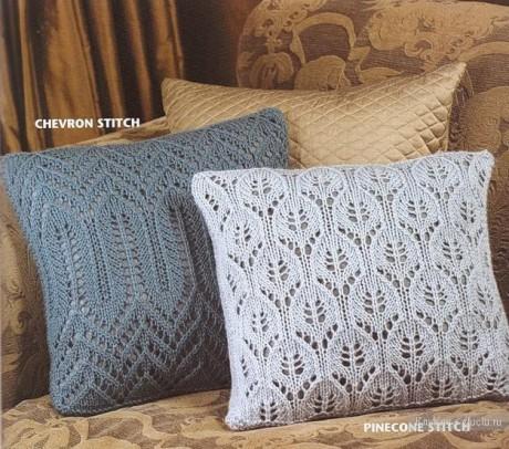ажурные подушки спицами