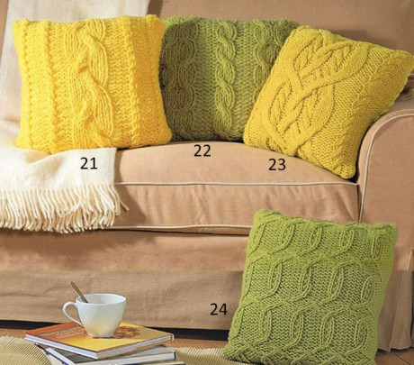 лимонная подушка спицами