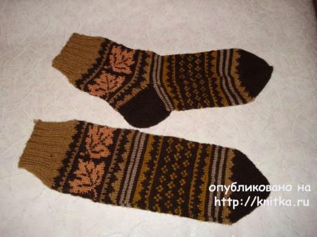 Носки мужские спицами с жаккардом Поздняя осень