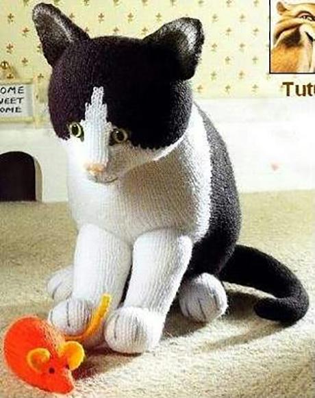 как связать кота спицами