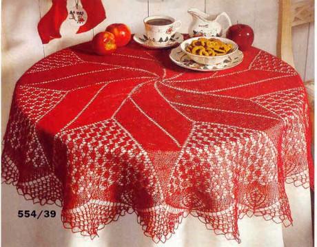 фото вязаной спицами скатерти