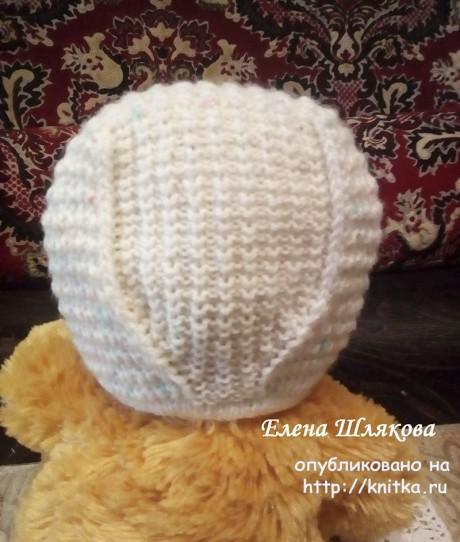 Чепчик для новорожденного спицами. Работа Елены Шляковой вязание и схемы вязания