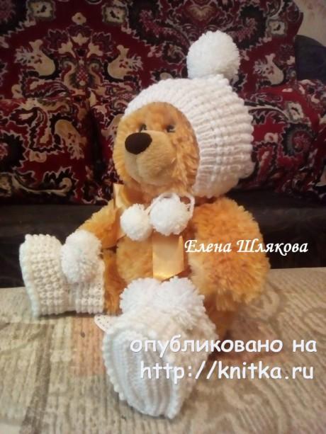 Шапочка - колпачок спицами для малыша. Работа Елены Шляковой вязание и схемы вязания
