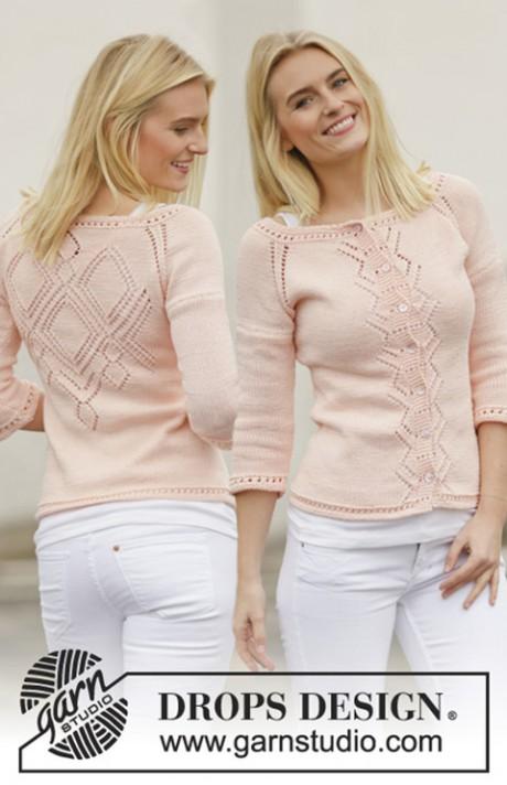 розовая кофта спицами