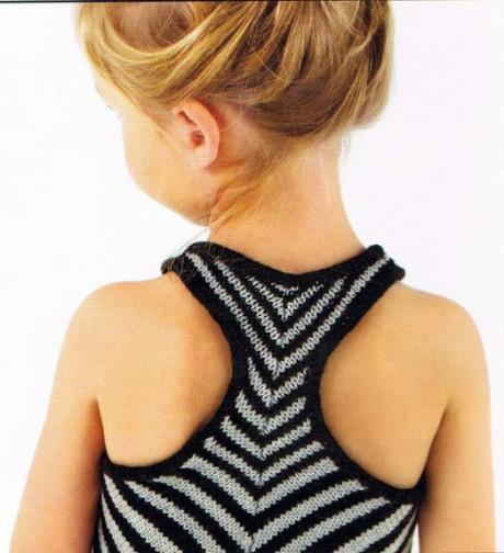 полосатая туника для девочки спицами фото