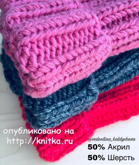 Шапка спицами из толстой пряжи. Работа Валентины Калдышевой вязание и схемы вязания