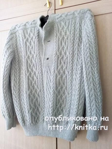 Мужской свитер спицами с аранами. Работа Татьяны Ивановны. Вязание спицами.