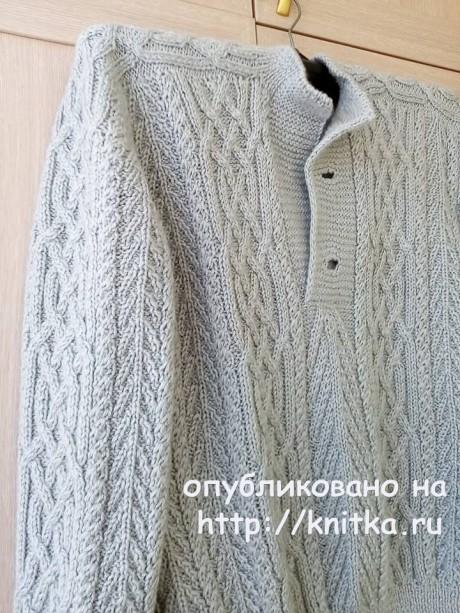 Мужской свитер спицами с аранами. Работа Татьяны Ивановны вязание и схемы вязания
