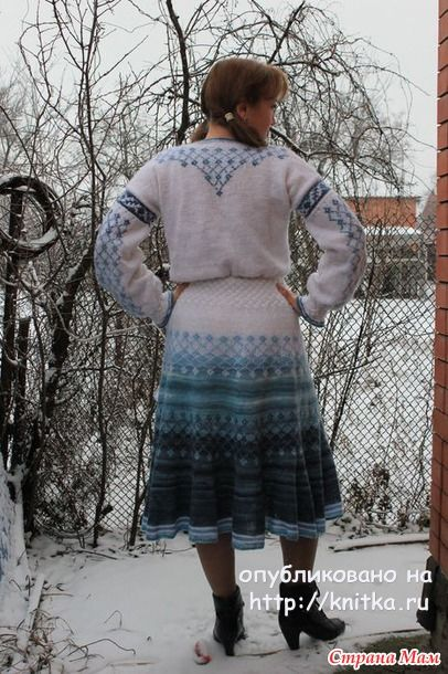 Платье Зимний ручей спицами