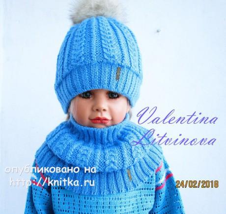Шапочка и снуд для девочки спицами. Работа Валентины Литвиновой вязание и схемы вязания