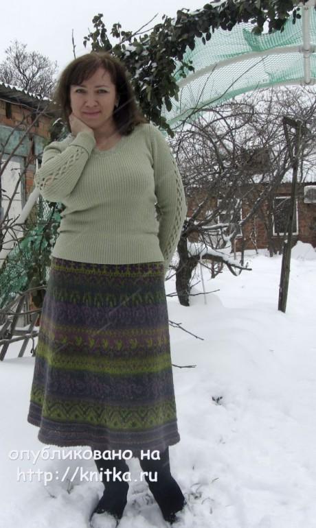 Юбка с жаккардом. Работа Наталии Левиной. Вязание спицами. 0n