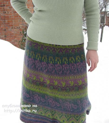 Юбка с жаккардом. Работа Наталии Левиной вязание и схемы вязания