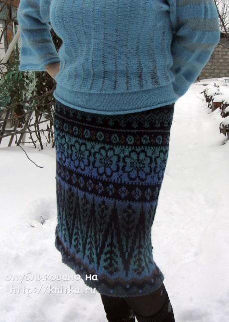 Женская юбка спицами из кауни. Работа Наталии Левиной вязание и схемы вязания