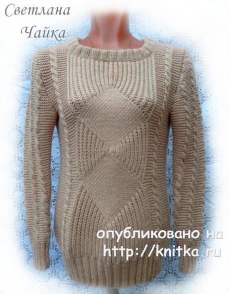 Женский джемпер Sand спицами. Работа Светланы Чайка вязание и схемы вязания