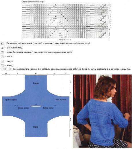 схема фантазийного узора для вязания ажурной кофты