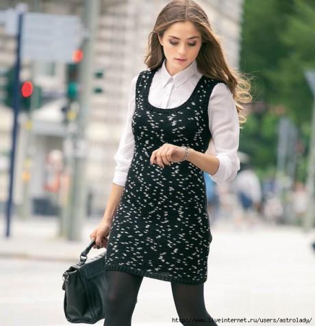 Черно-белый вязаный сарафан спицами для женщин