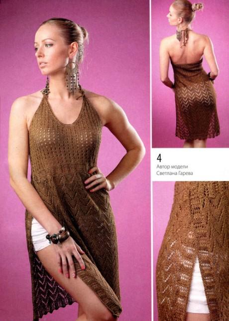 Туника - сарафан связанный спицами для женщин