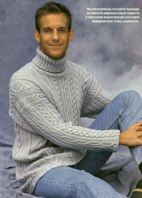 вязаный свитер спицами мужской