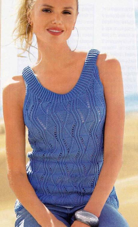 Голубой вязаный спицами топ для женщин