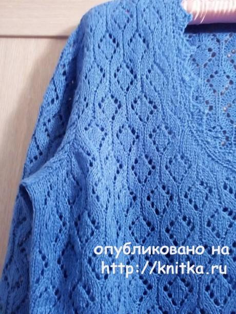 Ажурный джемпер спицами. Работа Татьяны Ивановны вязание и схемы вязания