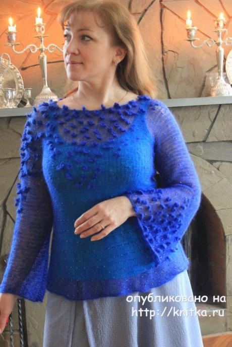 Кофточка из кид-мохера Лесные пролески. Работа Наталии Левиной. Вязание спицами.