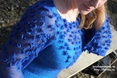 Кофточка из кид-мохера Лесные пролески. Работа Наталии Левиной вязание и схемы вязания