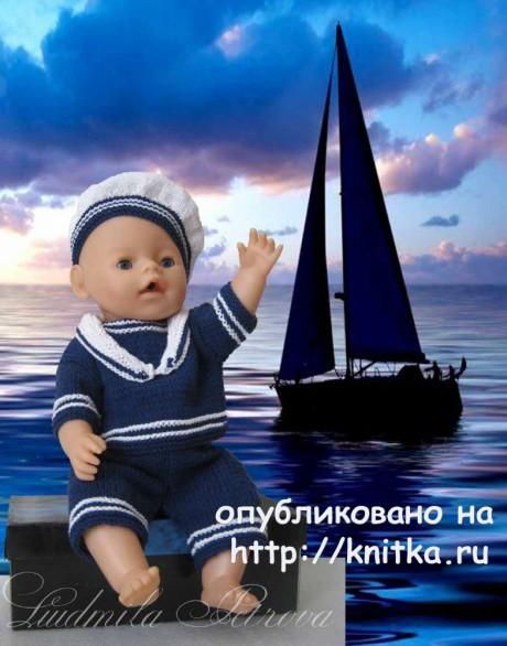 Костюм для куклы Baby Born. Работа Людмилы Петровой. Вязание спицами.