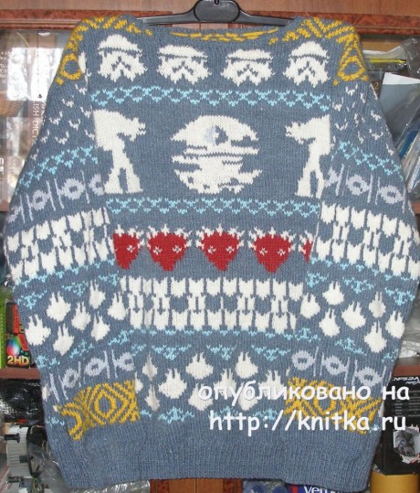 Мужской свитер с жаккардовым рисунком. Работа Елены. Вязание спицами.